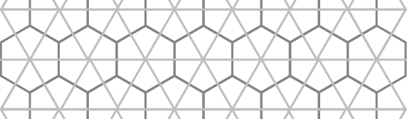 If a pattern of triangles (a dual of the hexagons) is overlaid onto the hexagons, it creates an intricate pattern.
